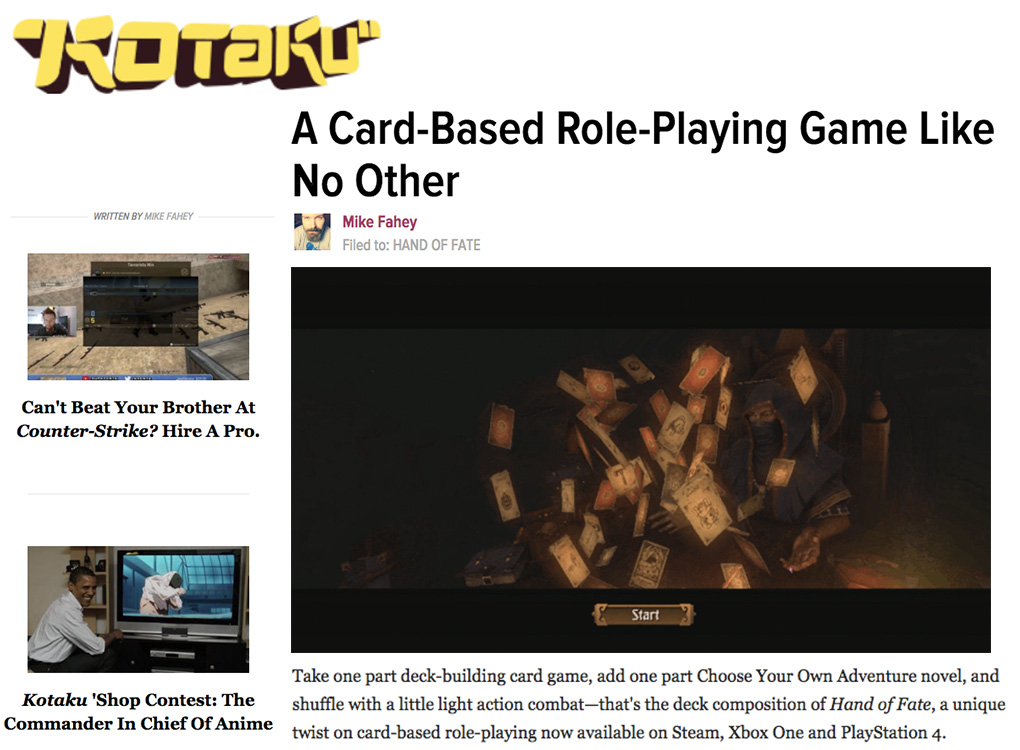 Kotaku Hand of Fate