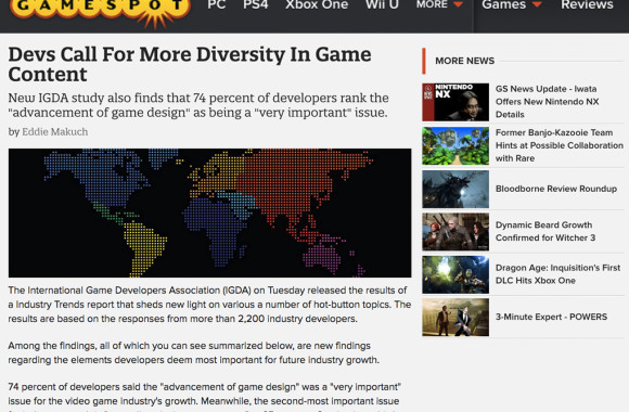 Gamespot IGDA survey