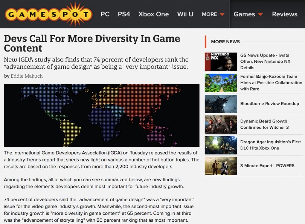 Gamespot IGDA survey