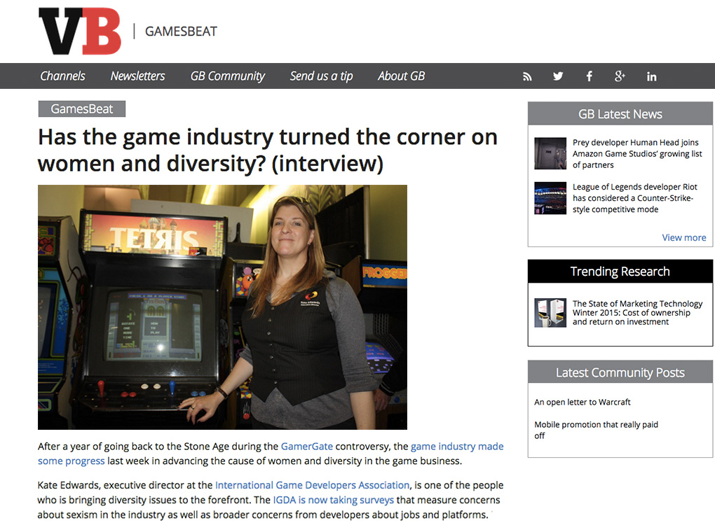 VentureBeat Kate Edwards interview