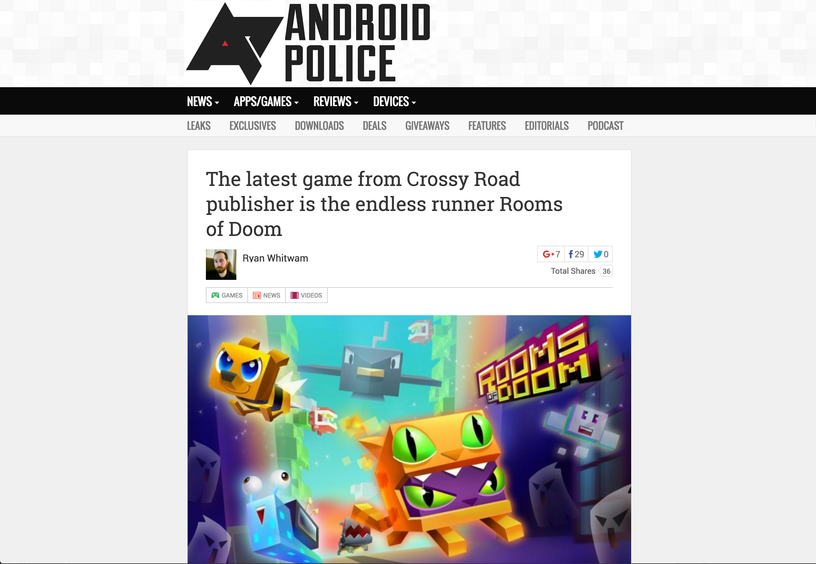 Android Police Covers Rooms of Doom Official Release   Stride PR