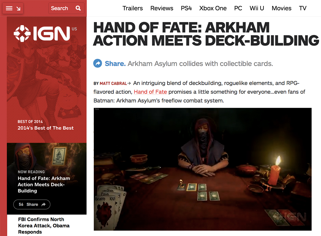 IGN Hand of Fate blog 12-19