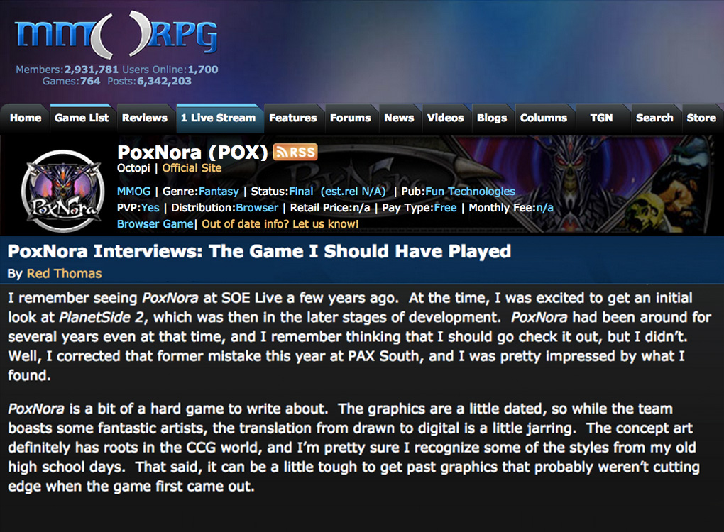 Pox Nora MMORPG