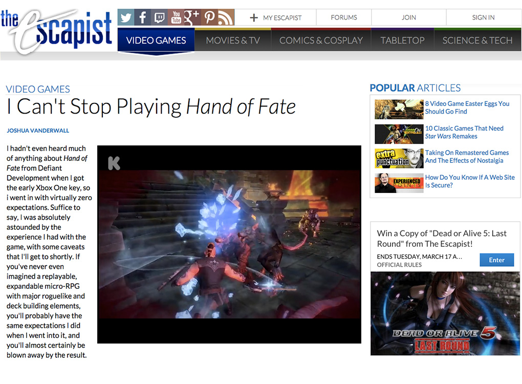 The Escapist Hand of Fate