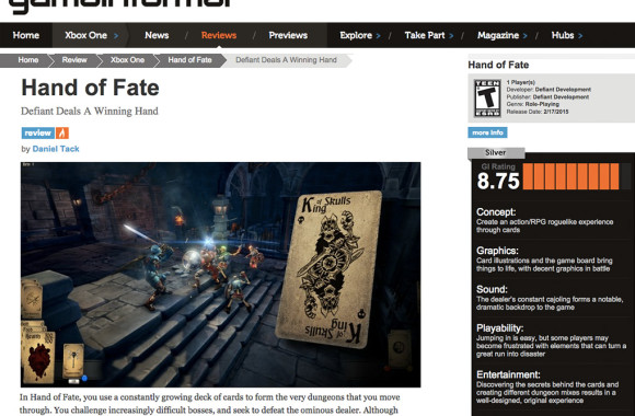 Game Informer Hand of Fate Review